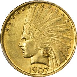 1907 Gold Indian $10. No Periods, No Motto. MS-61 PCGS.