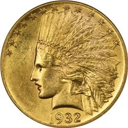 1932 Gold Indian $10. MS-62 NGC.