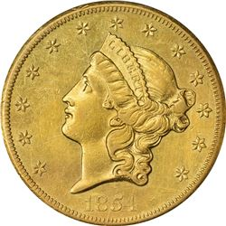 1854-S Gold $20. Genuine. PCGS.