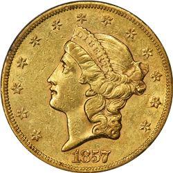 1857-S Gold $20. AU-53 PCGS.