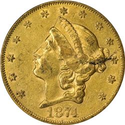 AU 1874-CC Double Eagle. 1874-CC Gold $20. Winter 1-A. AU-50 PCGS. OGL.