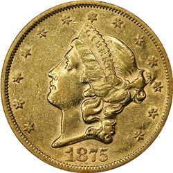 1875-S Gold $20. AU-53 PCGS.