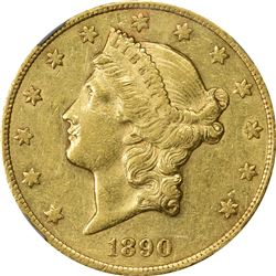 AU Details 1890-CC Double Eagle. 1890-CC Gold $20. Winter 1. Genuine - Obverse Scratched - AU Detail