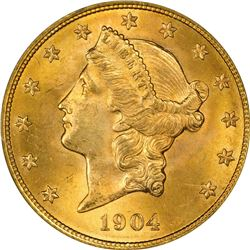 1904 Gold $20. MS-64 PCGS. OGH.