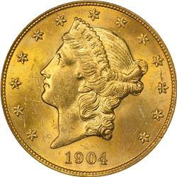 1904 Gold $20. MS-63 PCGS.