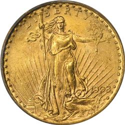 1908 Gold $20. No Motto. MS-63 PCGS.