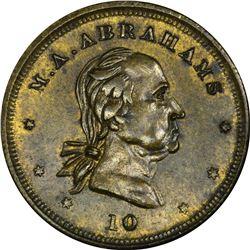 Merchant Token. Missouri. Westport. Circa 1853-1854. Abraham M. Abrahams. Miller Mo 41, B-506. Brass