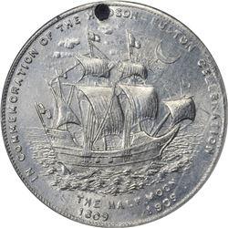 So-Called Dollar. New York. New York City. 1909 Hudson-Fulton Celebration. HK-385. White Metal. Hole