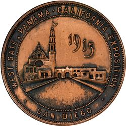 California. San Diego. 1915 Panama-California Exposition SC$1. West Gate. HK-432. Bronze. Plain Edge