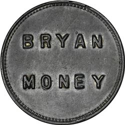 1896 Bryan Money. One Dime. Cast Lead. Zerbe-32. 44.0 mm. Choice AU to Uncirculated.