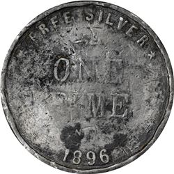 1896 Bryan Money. One Dime. Cast Lead. Zerbe-42. 46.3 mm. Good Overall. Slight bend, dents.