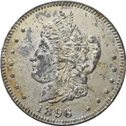 1896 Bryan Money. 16 to 1 – NIT. Zerbe 66. Lead. 89 mm. Overall EF.