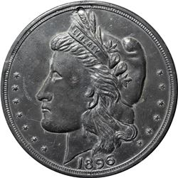 1896 Bryan Money. 16 to 1 NIT. Zerbe-68. Type Metal, not Bronze. Holed for Suspension. 87 mm. Overal