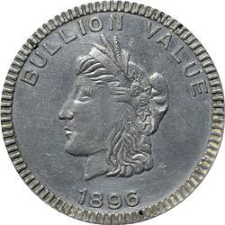 1896 Bryan Money. Bullion Value Dime. Zerbe 111. Aluminum. 63.7 mm. Overall Choice AU to Uncirculate