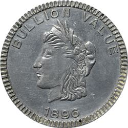 1896 Bryan Money. Bullion Value Dime. Zerbe 111. Aluminum. 63.7 mm. Overall Choice AU to Uncirculate