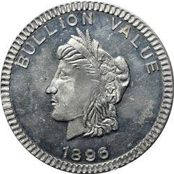 1896 Bryan Money. Bullion Value Dime. Zerbe 116. Aluminum. 63.7 mm. Overall Choice Uncirculated.