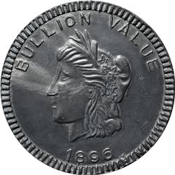 1896 Bryan Money. Bullion Value Dime. Zerbe 118. Type Metal. 63.5 mm. Overall Choice AU to Uncircula