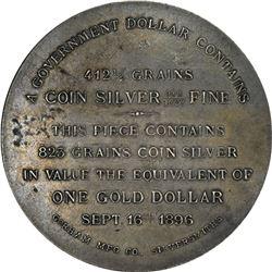 1896 Bryan Money. HT-780. Gorham Silver Dollar. 823 grains. 52.0 mm. AU.