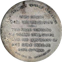 1896 Bryan Money. HT-781. Gorham Silver Dollar. Uniface. 823 grains. 52.0 mm. AU to Uncirculated.