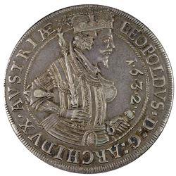 Box Thaler. Austria. Leopold. 1632 Box Thaler. Hall Mint. KM-629.4, Dav-3338B. Choice EF.