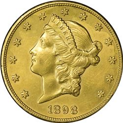 1898 Double Eagle with Sepia Tone Baby Portrait on Reverse. Choice AU.