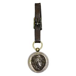 Pop-Out. 1891-O Morgan $1 Leather Strap Watch Fob. Overall EF.