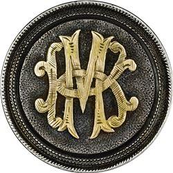 Love Token. Morgan Dollar Pin. Gold Filigree Initials MK or KM on Former Obverse of Host Coin. Phila