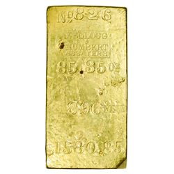 Fantastic Kellogg & Humbert Central America Ingot Serial #826, 85.35 Ounces. California. San Francis