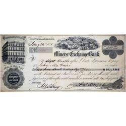 Rare Miner's Exchange Bank Bill. San Francisco, California. Miners' Exchange Bank. Interest Bearing
