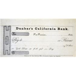 Pioneer Gold Coiner Check. San Francisco, California. Dunbar's California Bank. Bank Check. 1850. Ab