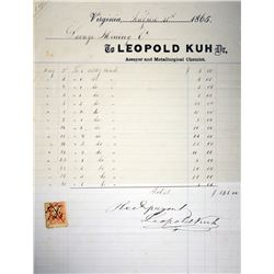 Leopold Kuh Assay Receipt for Savage Mining Company. 1865. Very Fine-Extremely Fine.