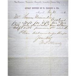 Very Rare S.S. Central American Assayer Document. Marysville, California. Assay Office of H. Harris