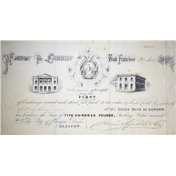 Gold Rush Era Bank Draft from the Union Bank of London. Extremely Fine.
