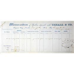 Virginia City, Nevada. Theall & Co., Gold Memoranda. Jan. 13, 1866. Very Fine.