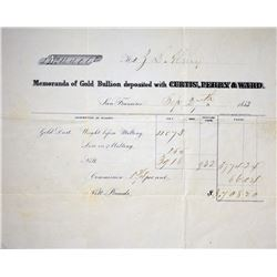 Very Important Pioneer Gold Coiners Document. San Francisco, California. Curtis Perry & Ward. Gold M