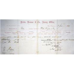 San Francisco, California. Riehn Hemme & Co., Gold Memoranda. 1866. Extremely Fine.