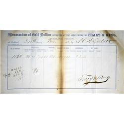 Portland, Oregon. Tracy & King, Gold Memoranda. 1862. Extremely Fine.
