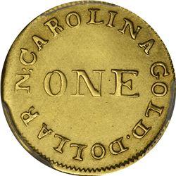 Undated (1831-1834). C. Bechtler $1 Gold. Kagin-1. Rarity-4. 30 G., Reeded Edge. Genuine - Cleaned -