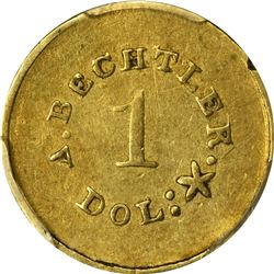 Undated (1842-1850). A. Bechtler $1 Gold. Kagin-24. Rarity-4. 27 G., 21 C. Plain Edge. Carolina Gold
