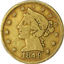 VF Details 1849 Moffat & Co. $5. 1849 Moffat & Co. $5 Gold. Kagin-4. Rarity-5. Reeded Edge. Genuine