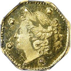 Superb Gem Uncirculated 1854 Gold 25¢ Finest Certified by PCGS. 1854 Octagonal 25¢. BG-105. Liberty