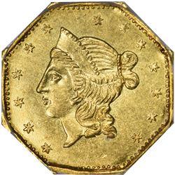 1853-N Octagonal $1. BG-530. Liberty Head. Rarity-2. MS-61 PCGS. OGL.