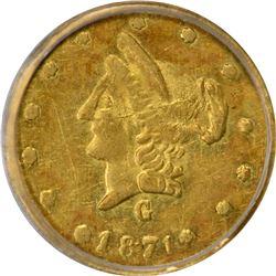 1871-G Round 50¢. BG-1027. Rarity-3. AU-55 PCGS.