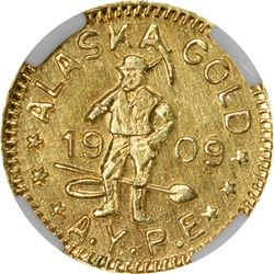 Alaska Gold. 1909 Alaska Yukon Pacific Exposition. ¼ DWT (25¢-sized). MS-64 NGC.