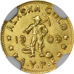 Alaska Gold. 1909 Alaska Yukon Pacific Exposition. 1/2 DWT (50¢-sized). MS-63 NGC.