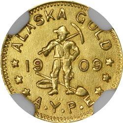 Alaska Gold. 1909 Alaska Yukon Pacific Exposition. 1/2 DWT (50¢-sized). MS-63 NGC.