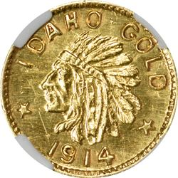 Idaho Gold. 1914 25¢-Sized. ESTO PERPETUA. MS-64 NGC.