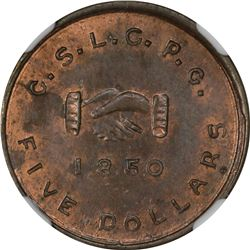 1850 Mormon $5 Uniface Copper Obv, K-7 P.E. Restrike.
