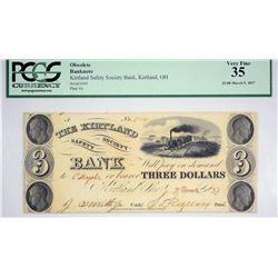 Second Finest Certified $3 Kirtland Banknote. 1837 $3 Kirtland Safety Society Bank. Kirtland, OH. Ny