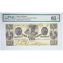 Second Finest PMG Certified Gem CU-65  $10 1837 Kirtland Note. $10 1837 Kirtland Safety Society Bank